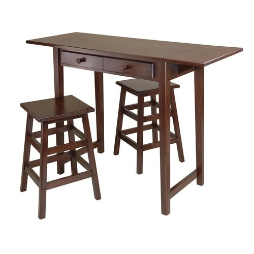 winsome wood brown rustic kitchen island with 2-stools at