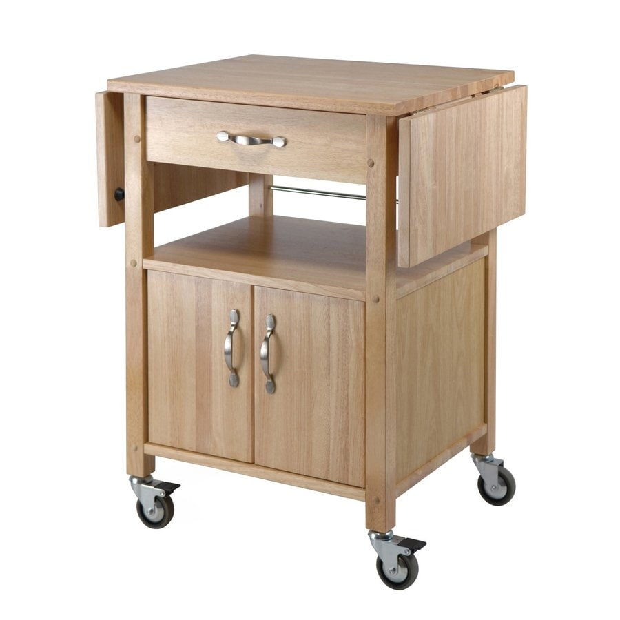 Gentil Winsome Wood Brown Farmhouse Kitchen Cart