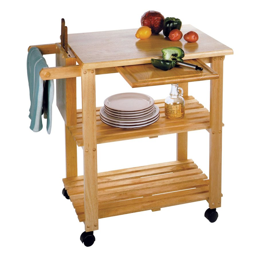 Winsome Wood 33.19-in L x 20.47-in W x 31.75-in H Brown Kitchen Island with Casters, Cutting Board, and Knife Block