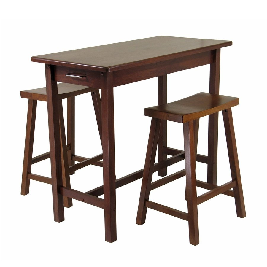 Winsome Wood Brown Asian Kitchen Island with 2-Stools
