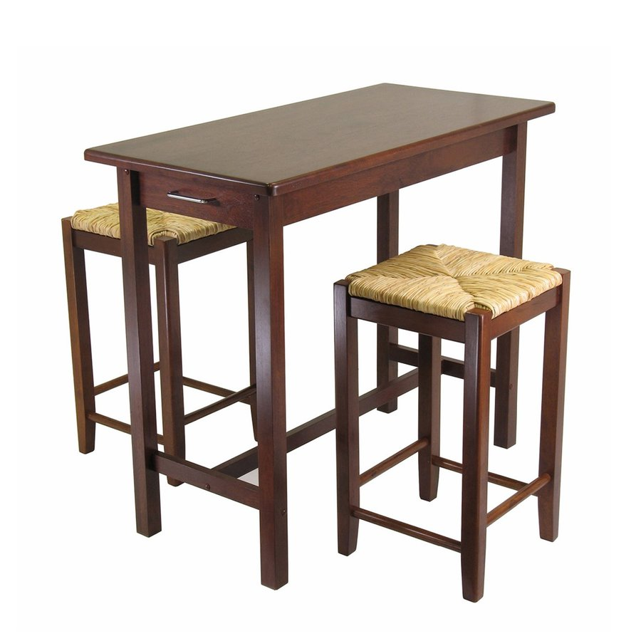 Winsome Wood Brown Coastal Kitchen Island with 2-Stools