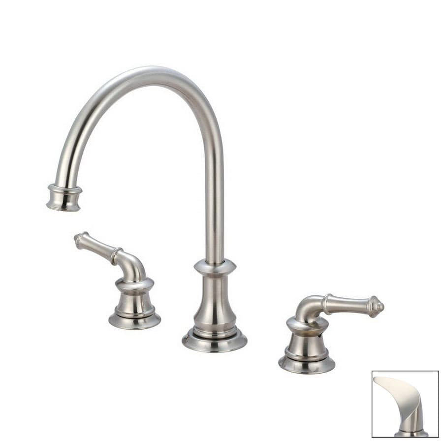 kitchen sink faucets lowes shop pioneer industries mar brushed nickel high arc 20018