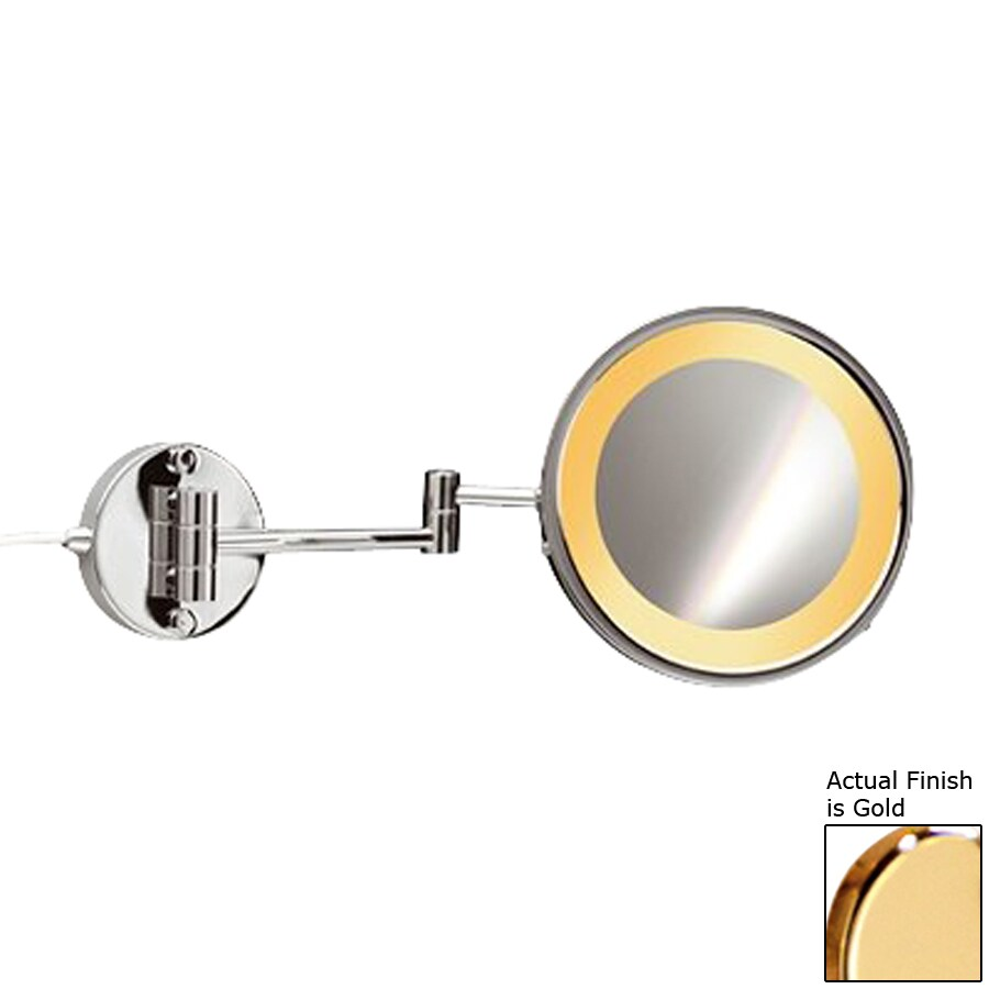 Hardwired Lighted Vanity Mirror : Shop Nameeks Windisch Gold Brass 5x Magnifying Extendable Wall-Mounted Vanity Mirror with ...