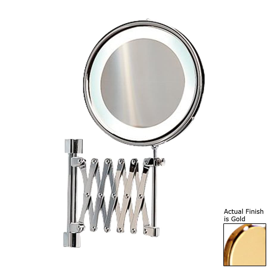 Nameeks Windisch Gold Brass 5x Magnifying Retractable Wall Mounted Vanity  Mirror With Plug In