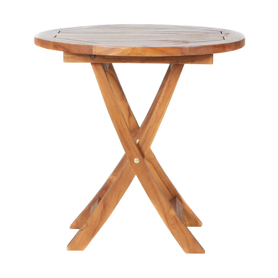 All Things Cedar 26-in W x 26-in L Round Teak Folding End Table