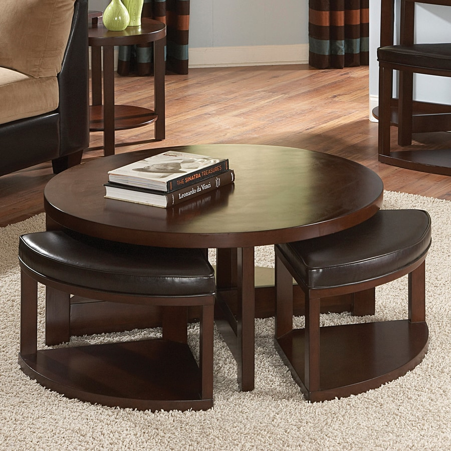 Homelegance Brussel Brown Cherry Round Coffee Table with Stools
