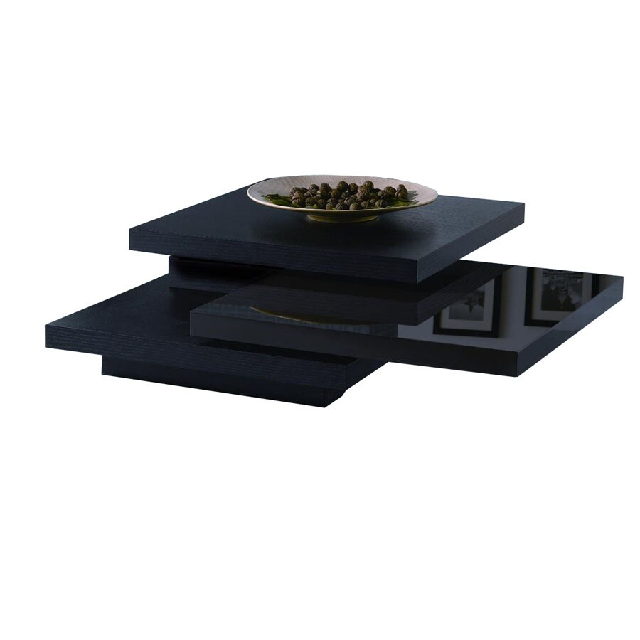 New Spec Cota Black And High Gloss Shiny Brown Rectangular Coffee Table