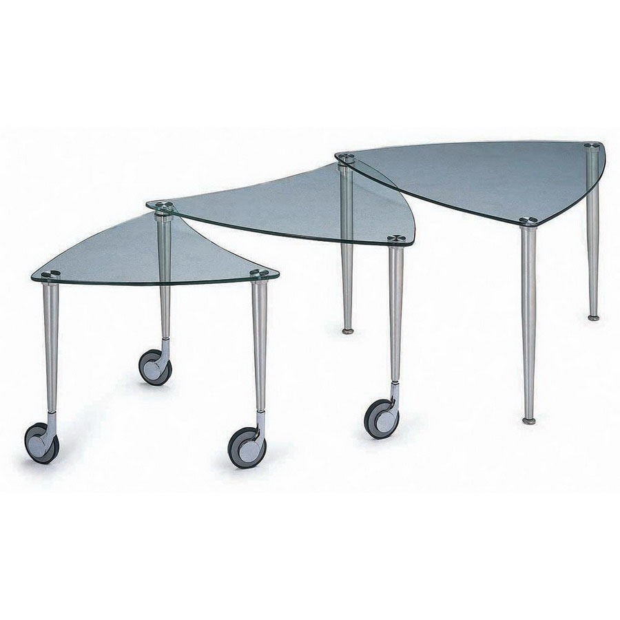 New Spec Cota Chrome Clear Gl Triangle Coffee Table