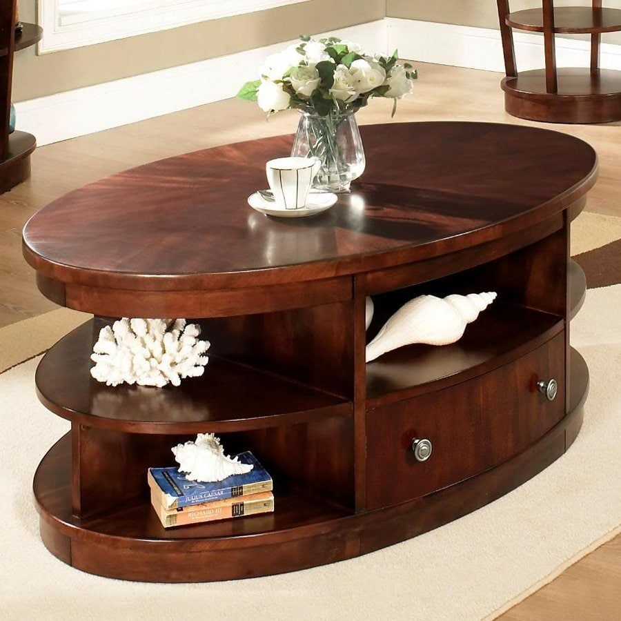 Somerton Home Furnishings Montecito Warm Brown Mahogany Oval Coffee Table
