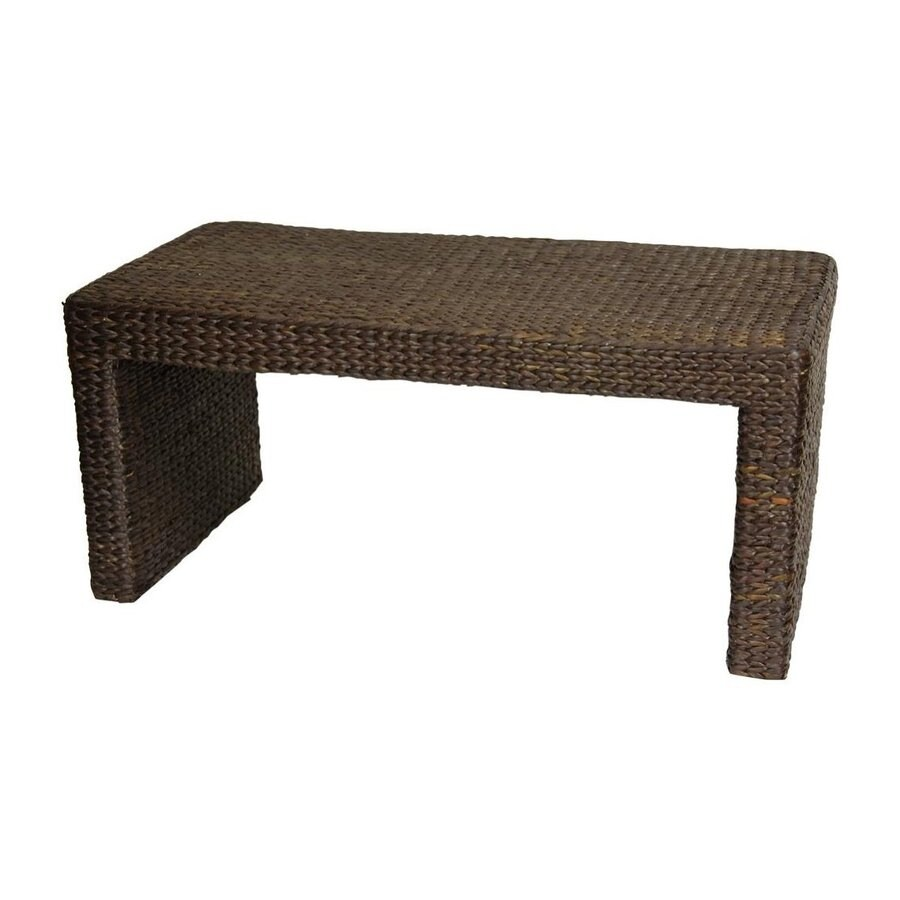 Oriental Furniture Fiber Weave Red Brown Rush Grass Rectangular Coffee Table