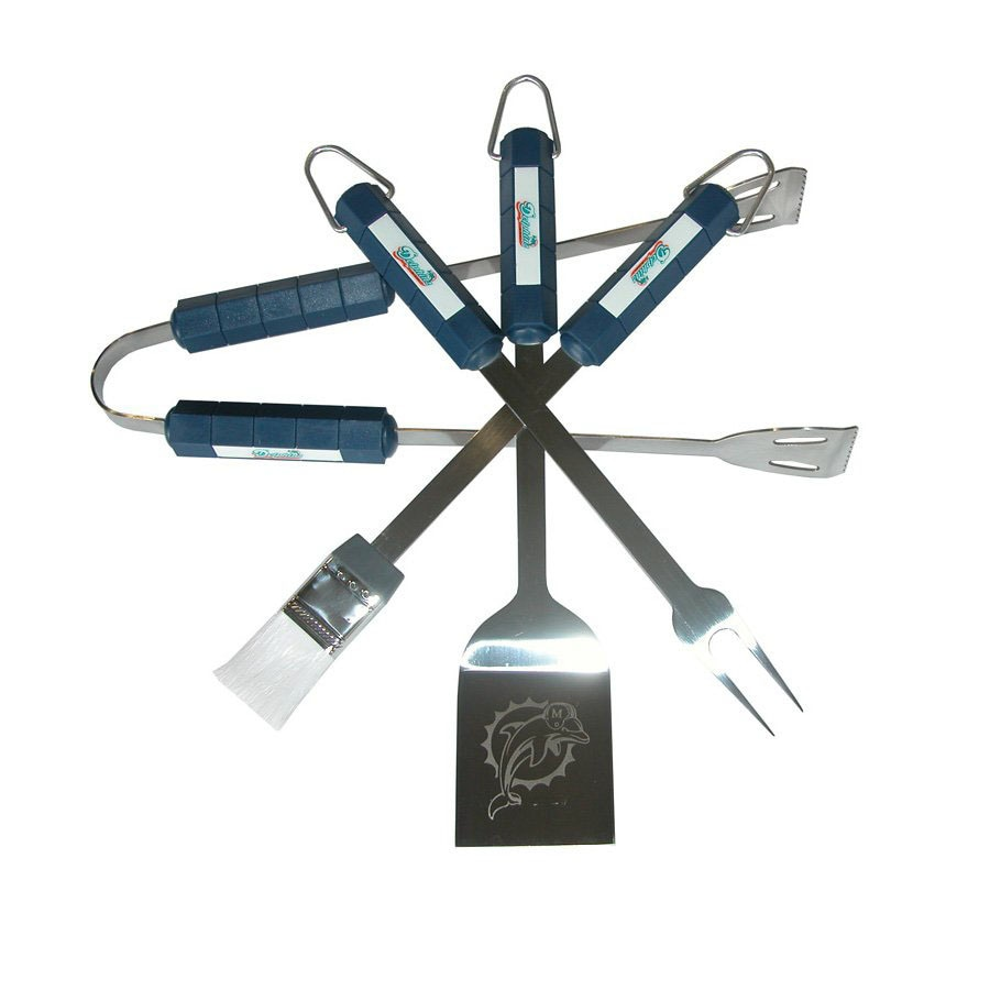 BSI Products 4-Piece Miami Dolphins BBQ Grilling Tool Set