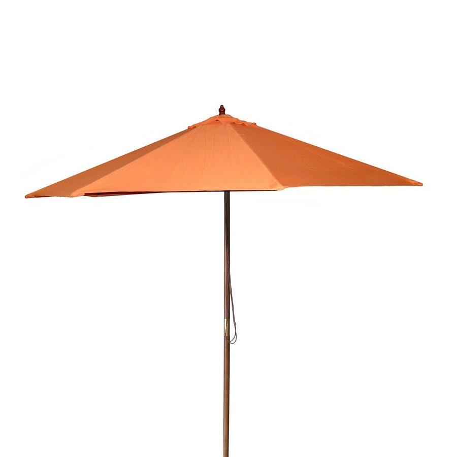 Jordan Manufacturing Orange Market Patio Umbrella (Common: 9-ft W x 9-ft L; Actual: 9-ft W x 9-ft L)