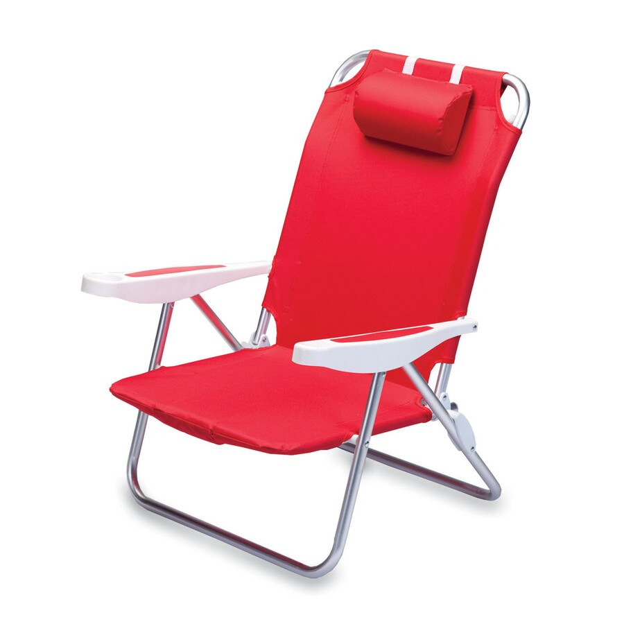 Picnic Time Red Steel Folding Beach Chair