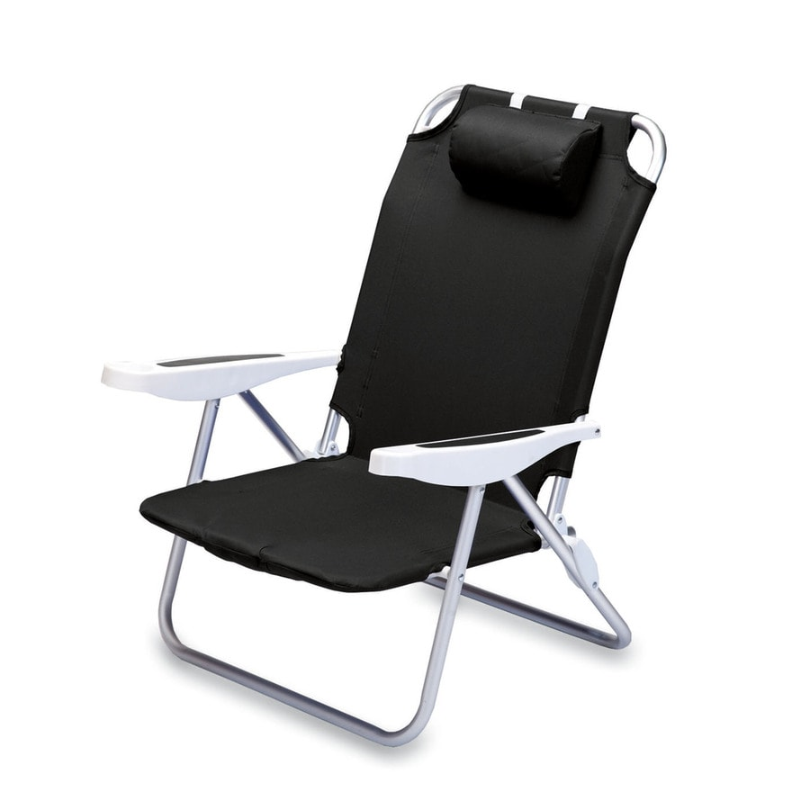 Picnic Time Black Steel Folding Beach Chair