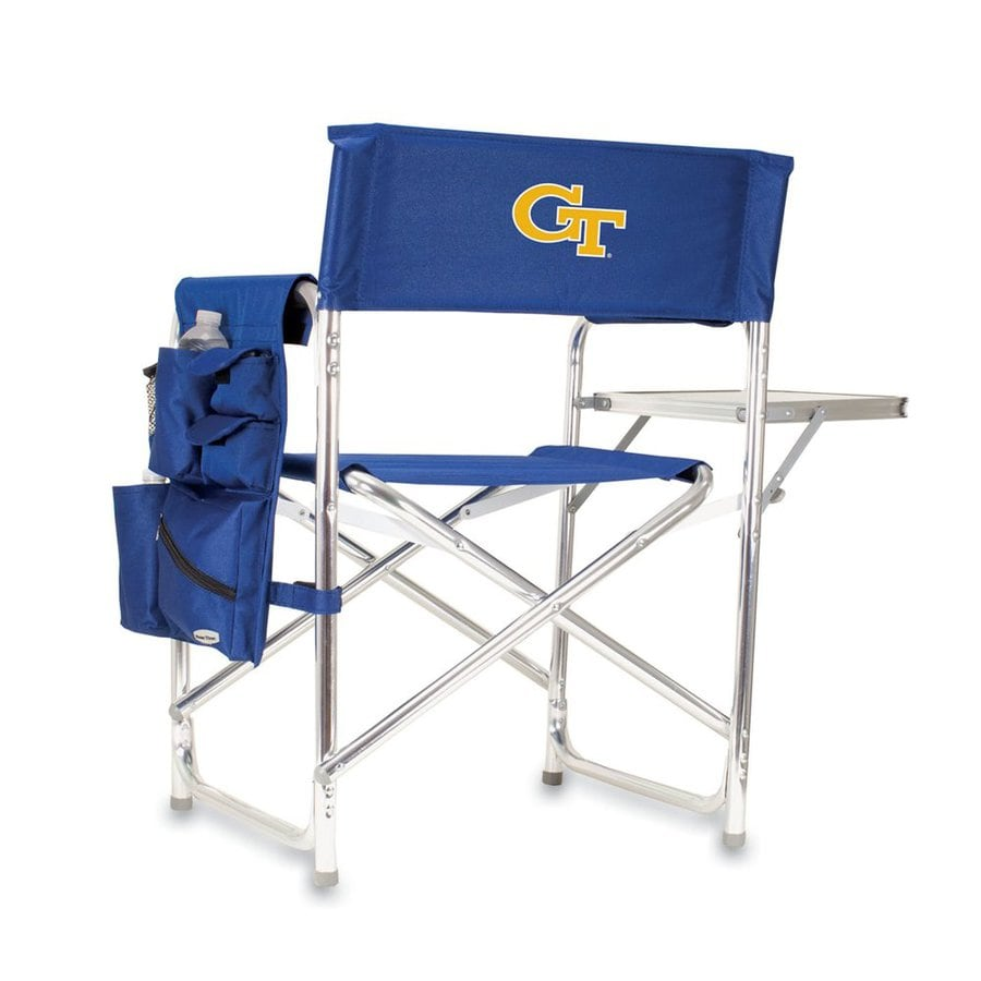 Picnic Time Blue NCAA Georgia Institute Of Technology Yellow Jackets Aluminum Folding Camping Chair