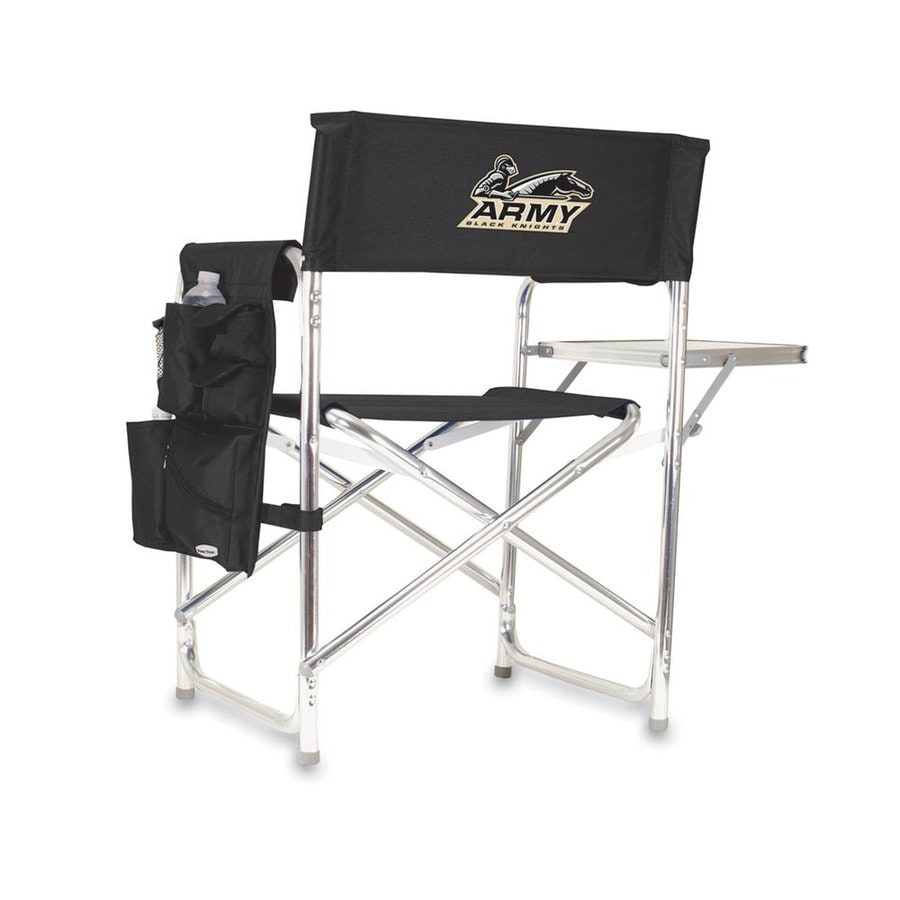 Picnic Time Black NCAA Army Black Knights Aluminum Folding Camping Chair