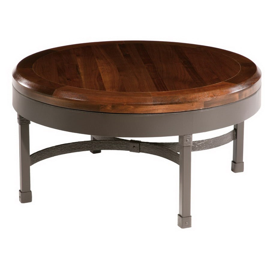 Stone County Ironworks Cedarvale Natural Black Metal Round Coffee Table