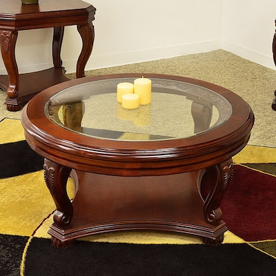 Fantastic Royal Manufacturing Cherry Round Coffee Table At Lowes Com Dailytribune Chair Design For Home Dailytribuneorg