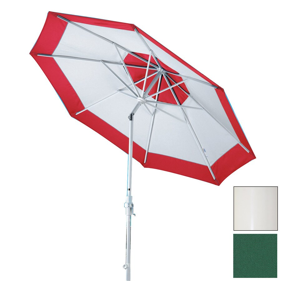 Dayva Forest Green Market Umbrella With Crank Common 11 Ft X 11 Ft Actual 11 Ft X 11 Ft In The Patio Umbrellas Department At Lowes Com
