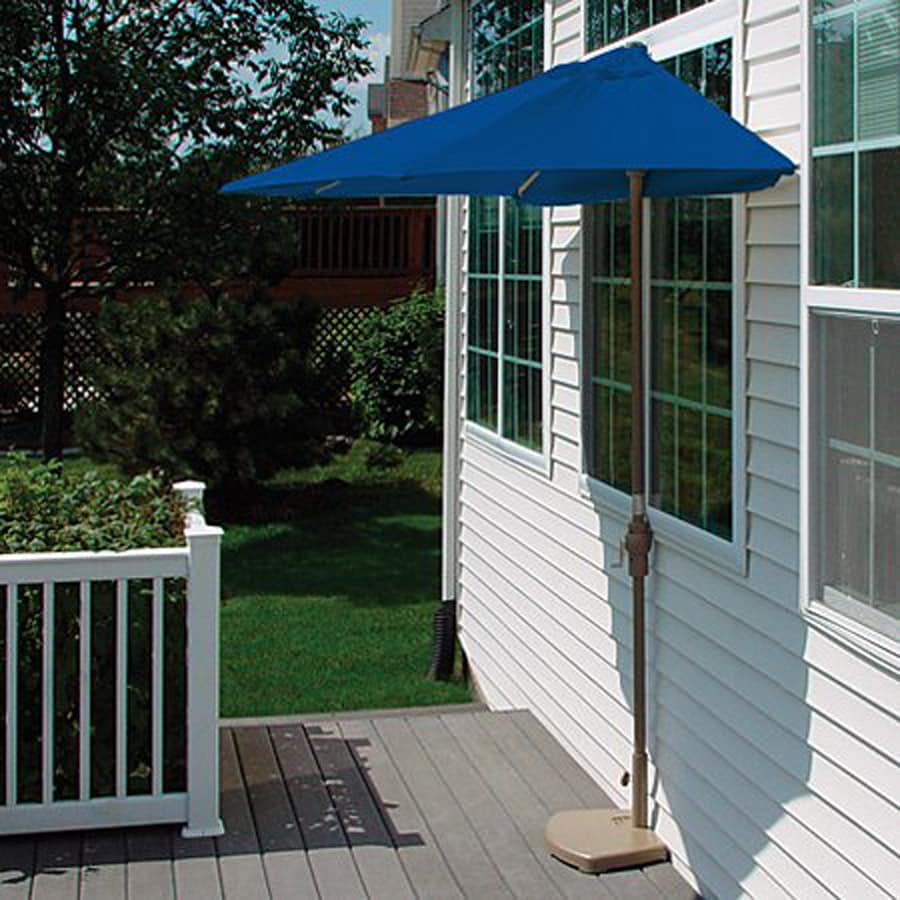 Blue Star Group Brella Blue Half-Round Patio Umbrella (Common: 4-ft W x 7.5-ft L; Actual: 3.75-ft W x 7.34-ft L)