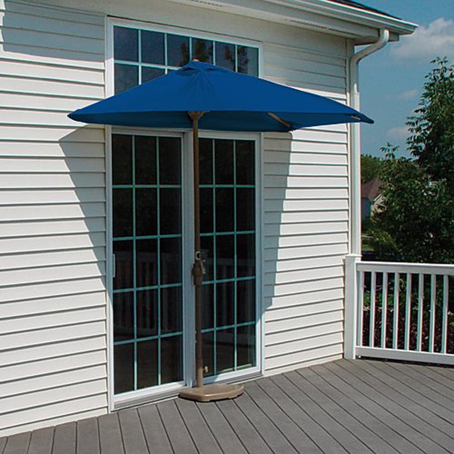 Blue Star Group Brella Blue Half-Round Patio Umbrella (Common: 4.5-ft W x 9-ft L; Actual: 4.5-ft W x 8.84-ft L)