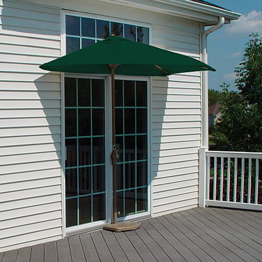 Blue Star Group Brella Green Half-Round Patio Umbrella (Common: 4.5-ft W x 9-ft L; Actual: 4.5-ft W x 8.84-ft L)