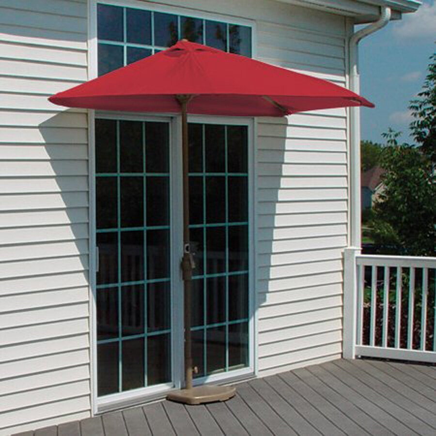 Blue Star Group Brella Red Half-Round Patio Umbrella (Common: 4.5-ft W x 9-ft L; Actual: 4.5-ft W x 8.84-ft L)