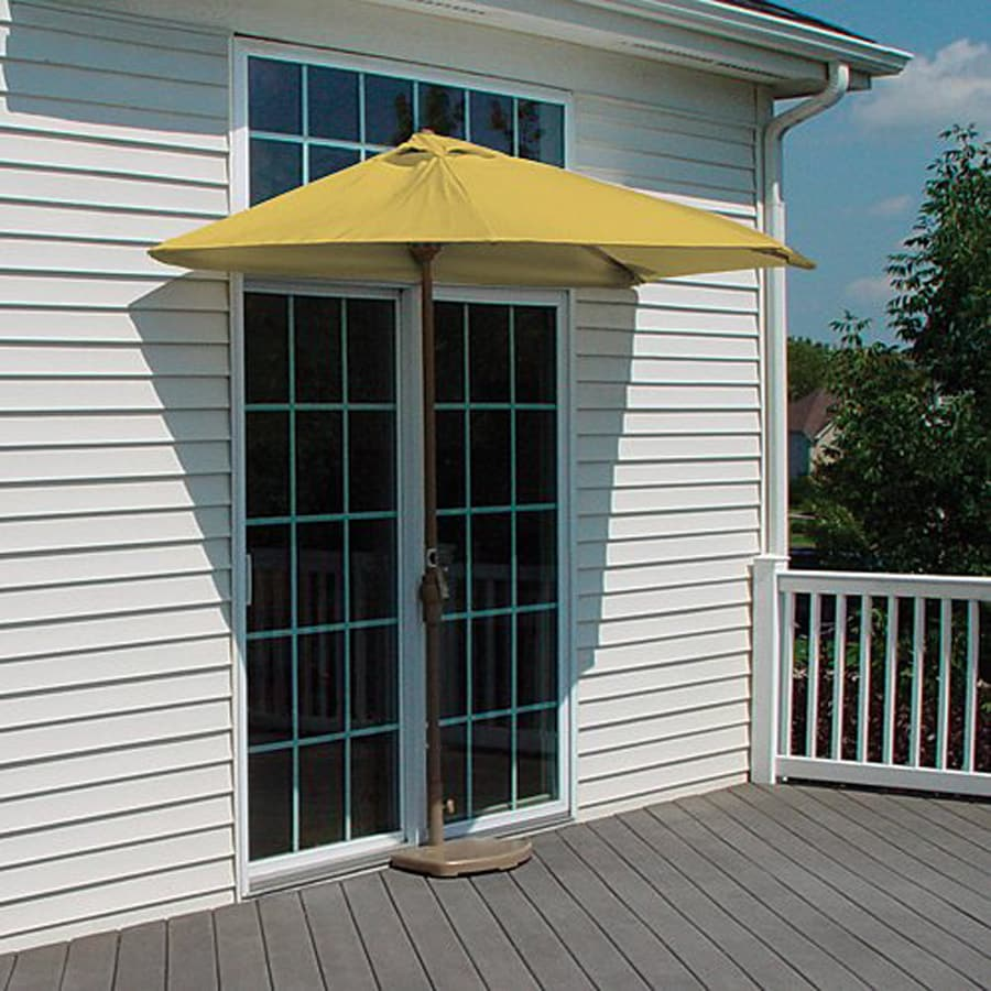 Blue Star Group Brella Yellow Half-Round Patio Umbrella (Common: 4.5-ft W x 9-ft L; Actual: 4.5-ft W x 8.84-ft L)
