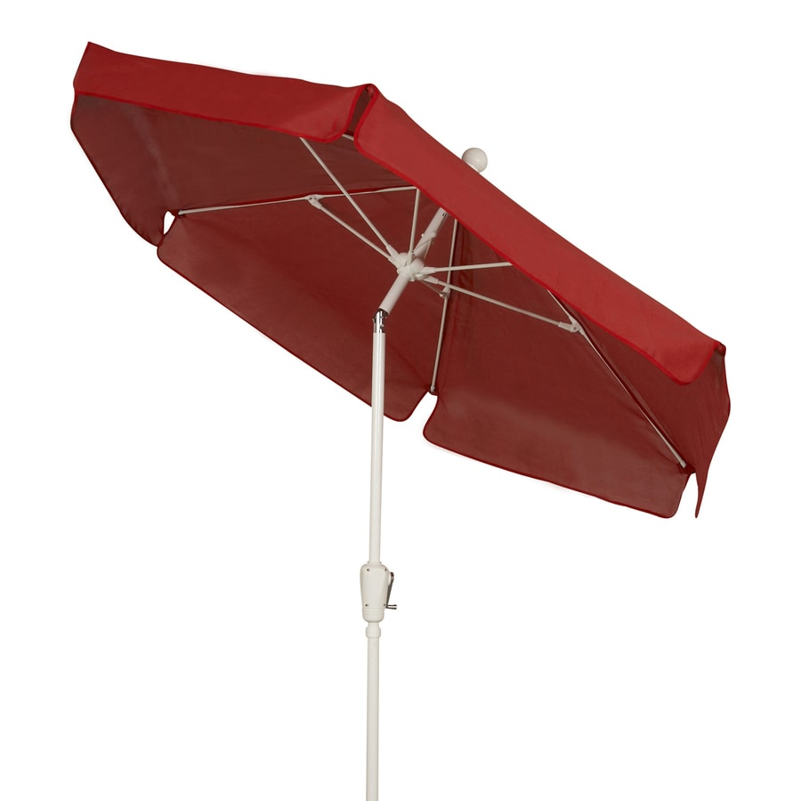 Fiberbuilt Home Red Market Patio Umbrella (Common: 7.5-ft W x 7.5-ft L; Actual: 7.5-ft W x 7.5-ft L)