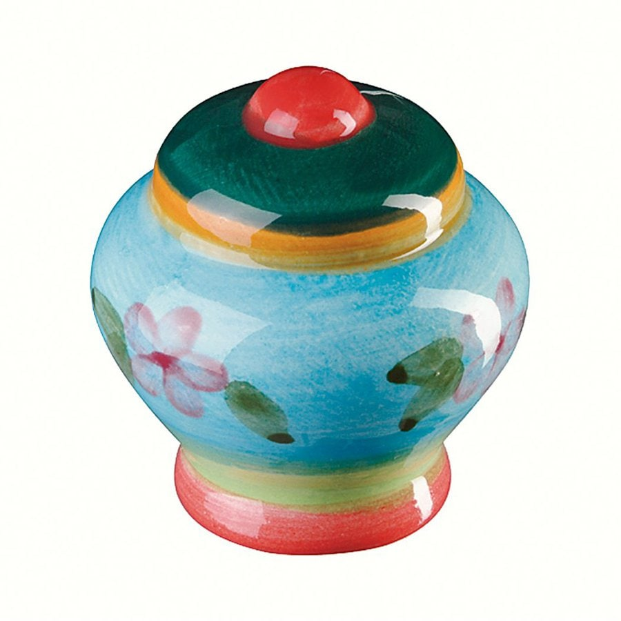 Siro Designs Botanico Red Ctr/Green/Orange/Blue Round Cabinet Knob