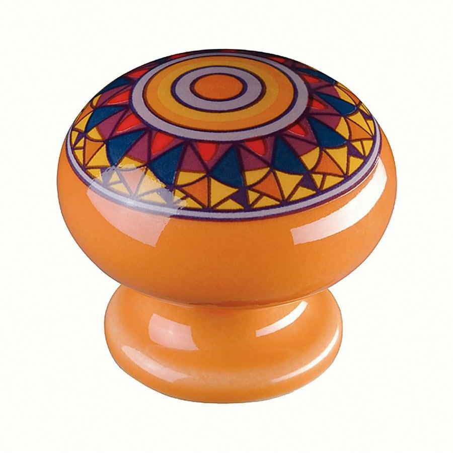 Siro Designs Botanico Orange/Mandela Design Round Cabinet Knob