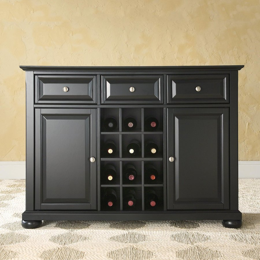 Crosley Furniture Alexandria Black Sideboard with Wine Storage