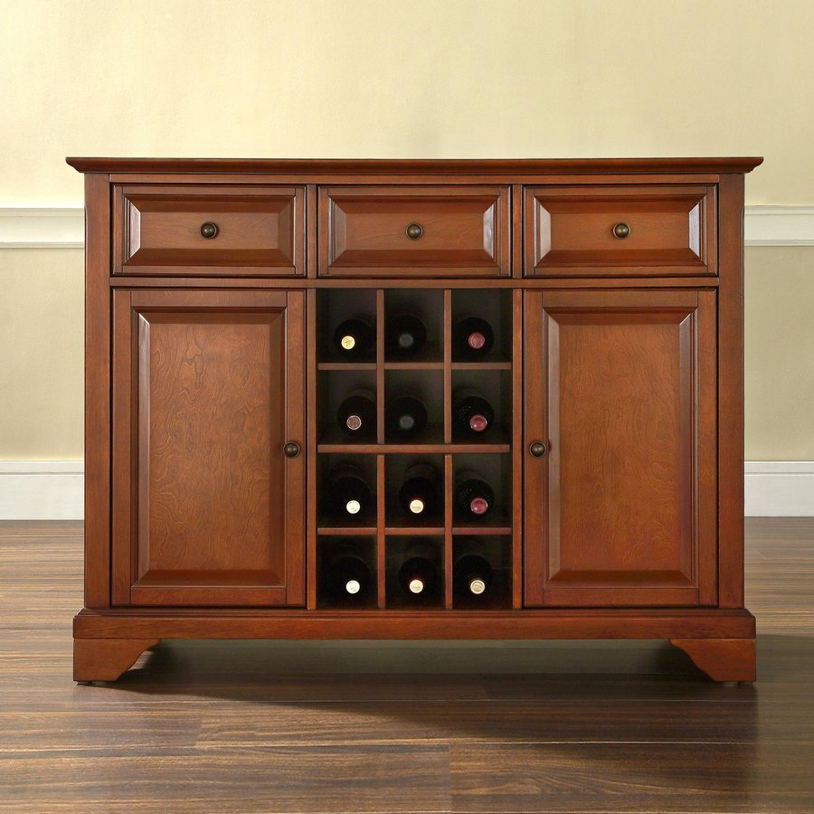 Crosley Furniture Lafayette Classic Cherry Sideboard with Wine Storage