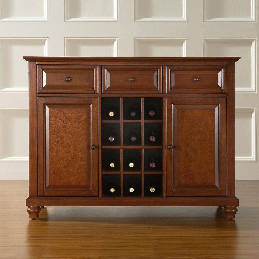 Crosley Furniture Cambridge Classic Cherry Sideboard with Wine Storage