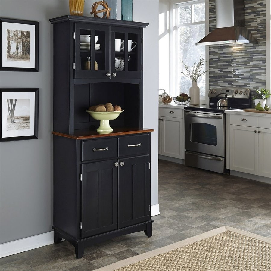 Medium Wood Kitchens: Shop Home Styles Black/Medium Cherry Wood Kitchen Hutch At