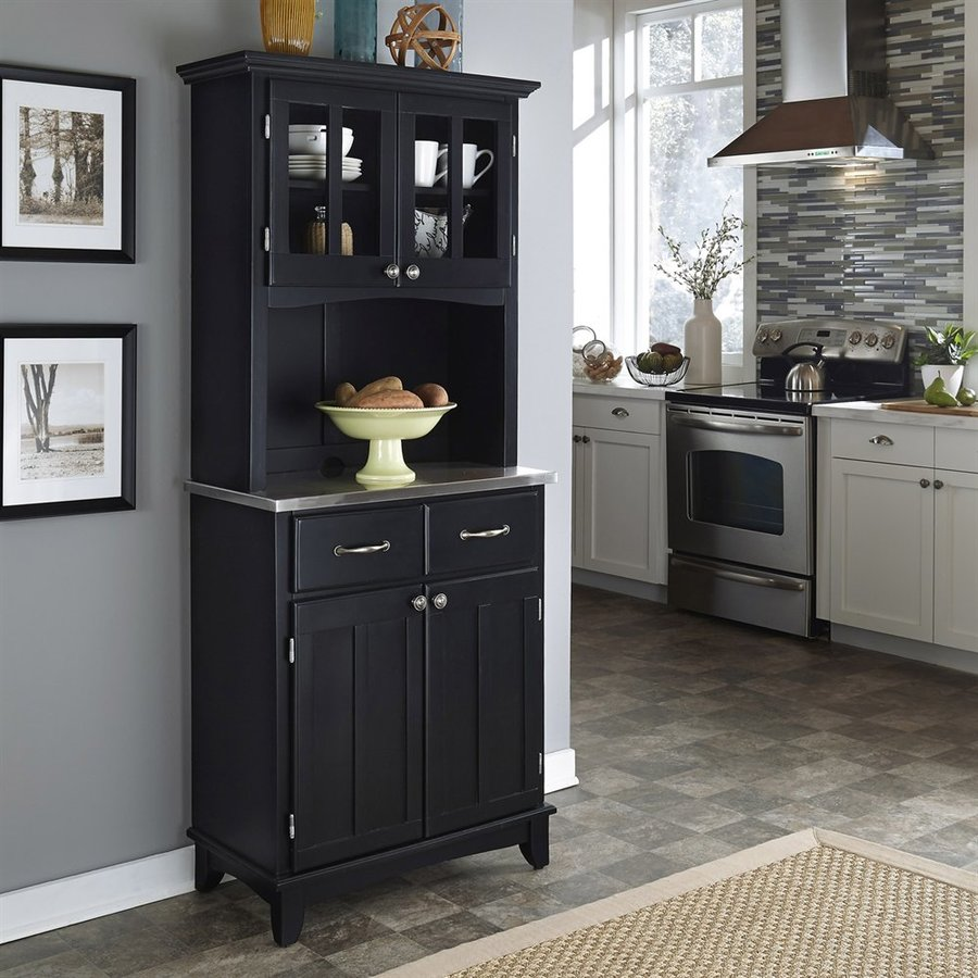 Home Styles Black/Stainless Steel Rectangular Kitchen Hutch
