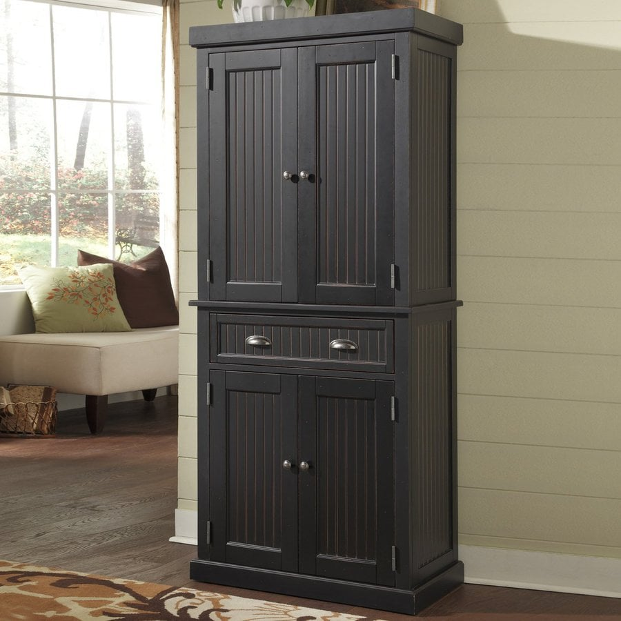 Home Styles Nantucket Distressed Black Wood Kitchen Hutch