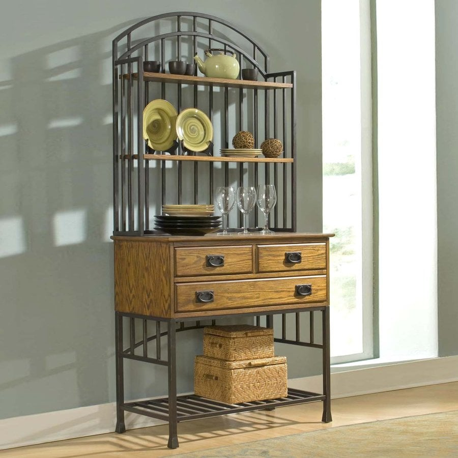 Shop Home Styles Oak Hill OakAntique Bronze Bakers Rack At Lowescom