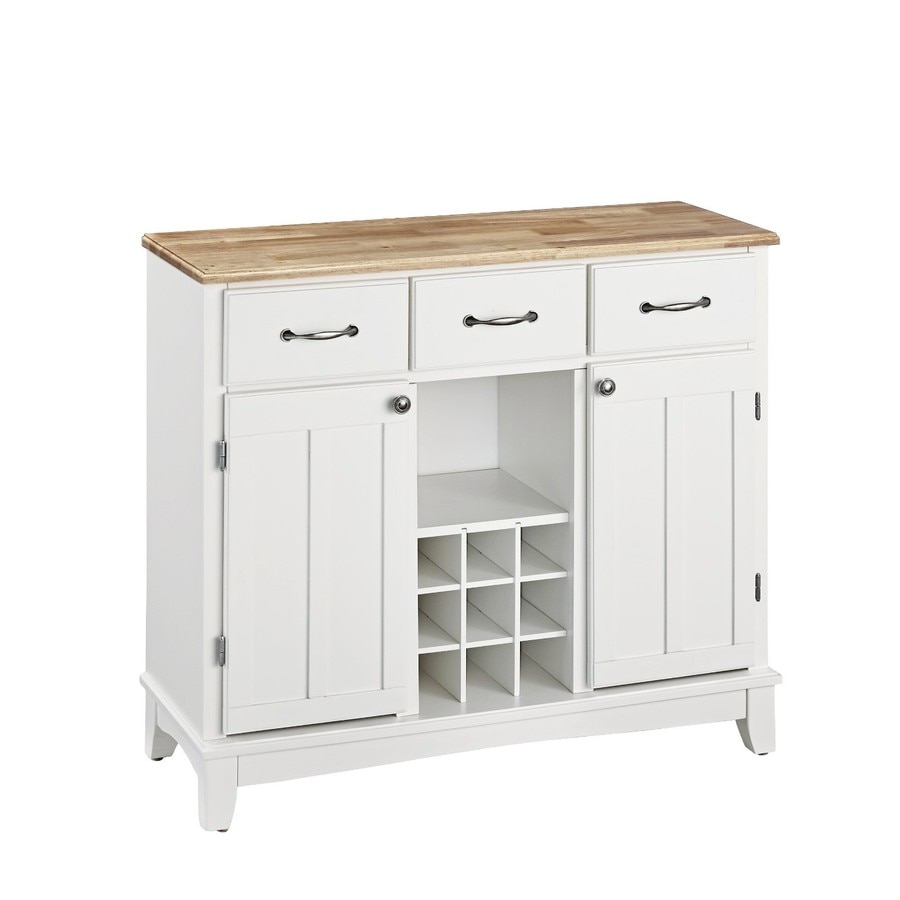 Home Styles White/Natural Wood Sideboard With Wine Storage