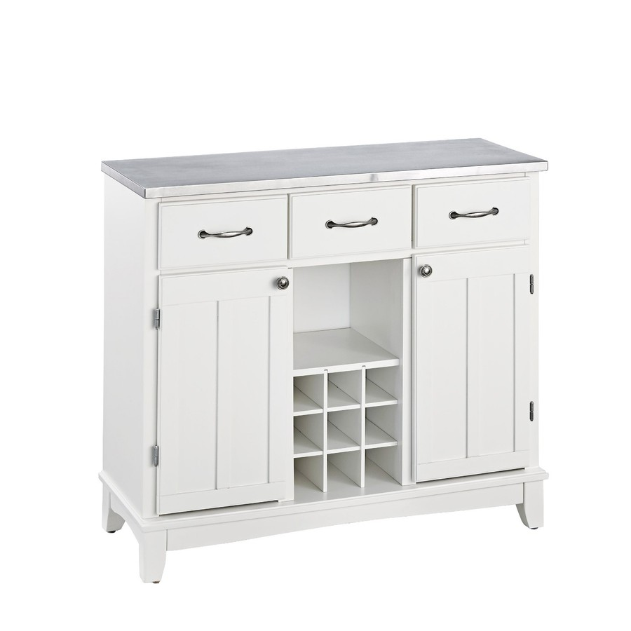 White Kitchen Buffet: Home Styles White/Stainless Wood Sideboard With Wine
