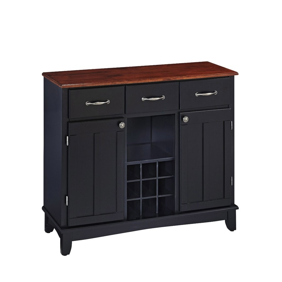 Home Styles Black/Cherry Wood Sideboard with Wine Storage
