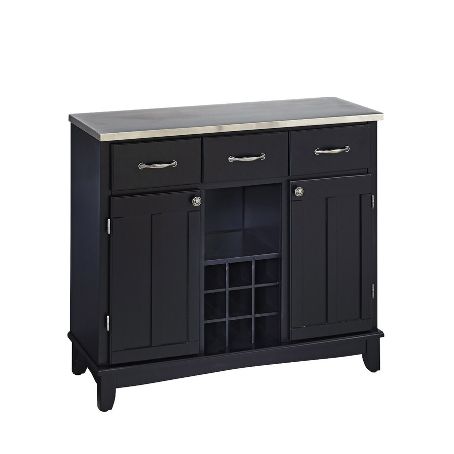 Home Styles Black/Stainless Wood Sideboard with Wine Storage
