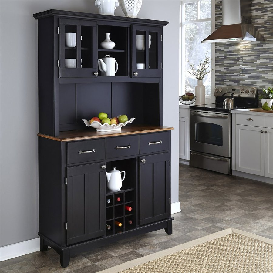 Home Styles Black/Cottage Oak Wood China Cabinet With Wine Storage