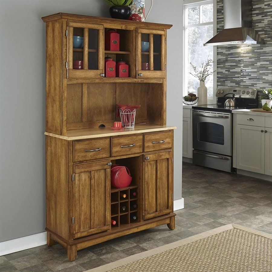 Home Styles Cottage Oak/Natural Wood China Cabinet with Wine Storage & Shop Home Styles Cottage Oak/Natural Wood China Cabinet with Wine ...