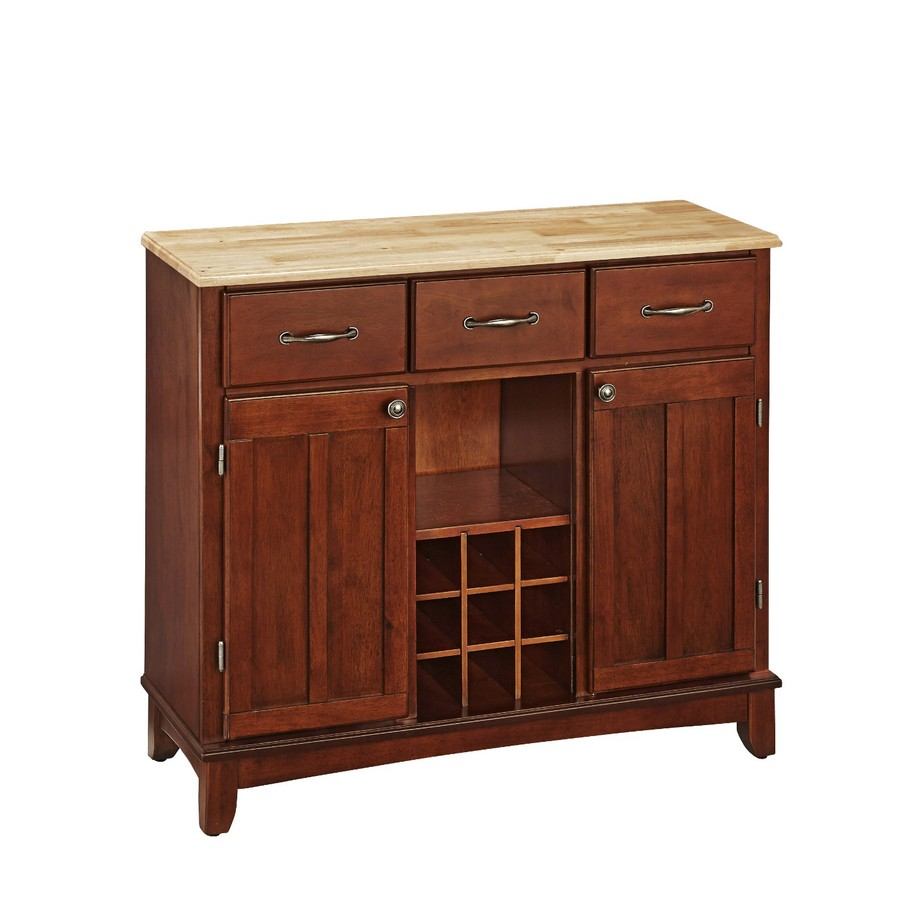 Home Styles Medium Cherry/Natural Sideboard with Wine Storage