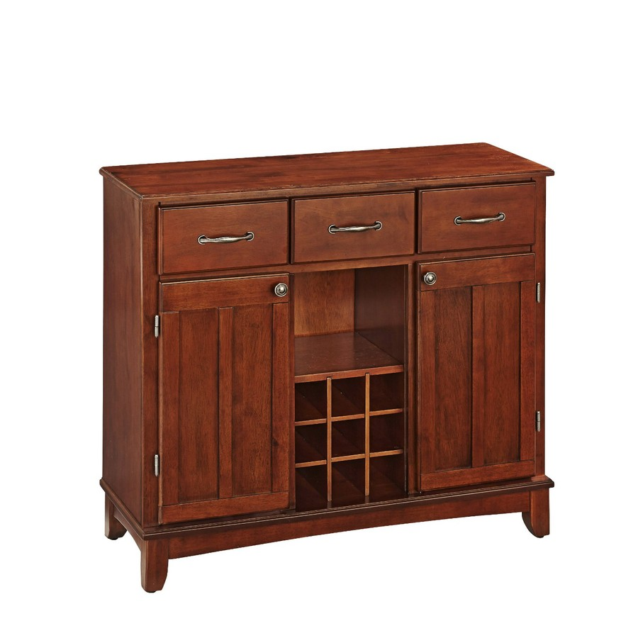 Home Styles Medium Cherry Sideboard with Wine Storage