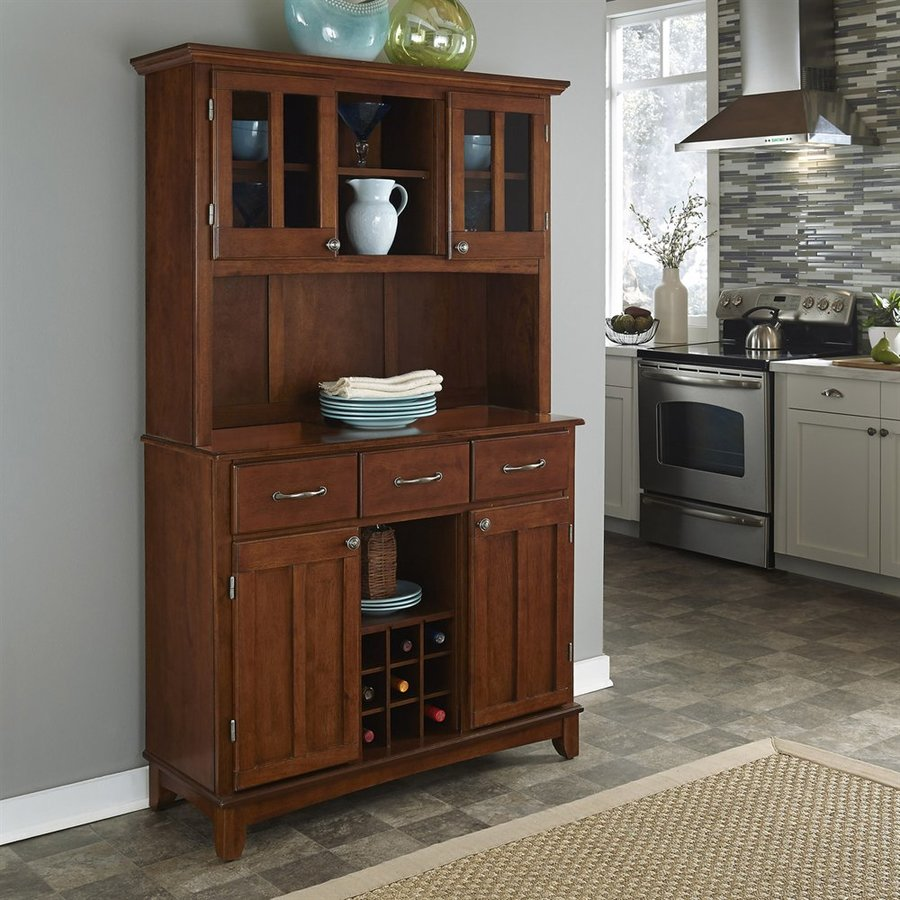 Home Styles Medium Cherry Wood China Cabinet with Wine Storage