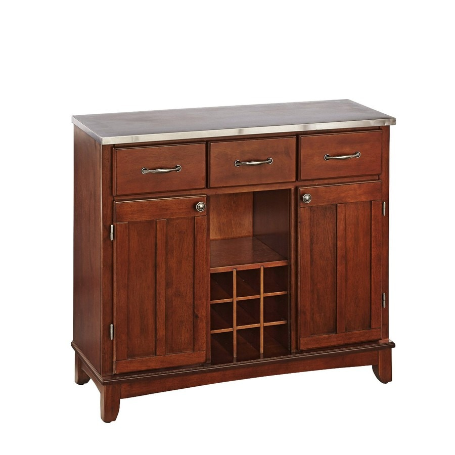 Home Styles Medium Cherry/Stainless Wood Sideboard with Wine Storage