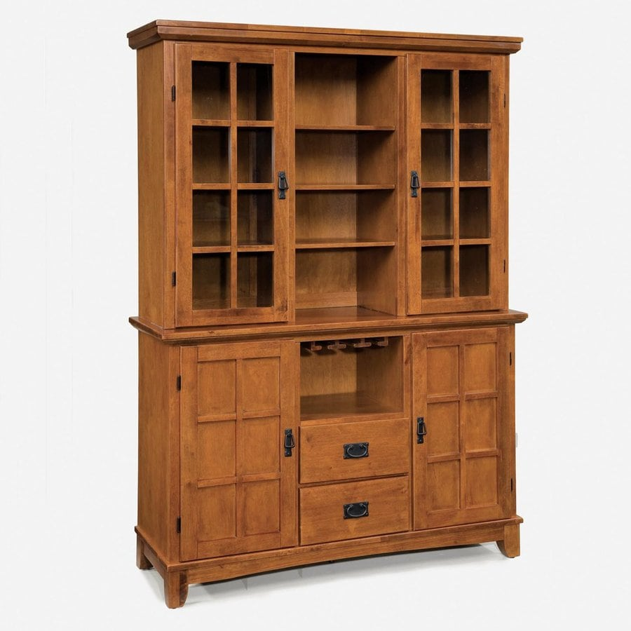 Home Styles Arts and Crafts Cottage oak Wood China Cabinet with Wine Storage