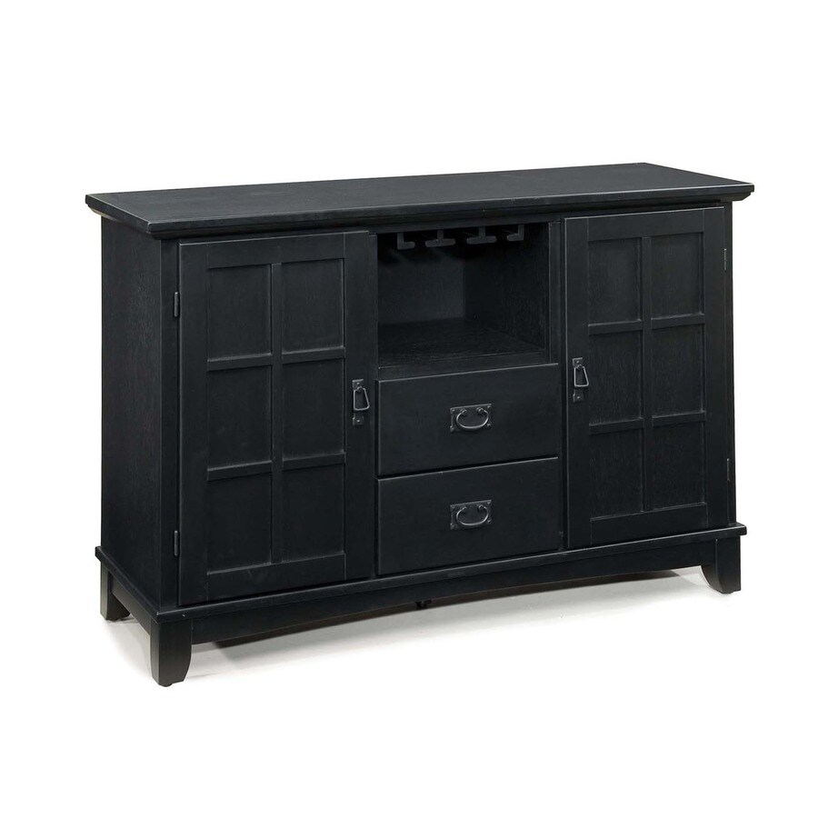 Home Styles Arts and Crafts Ebony Buffet with Wine Storage